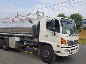 Xe bồn xitec chở xăng dầu hợp kim nhôm Hino FM 21m3