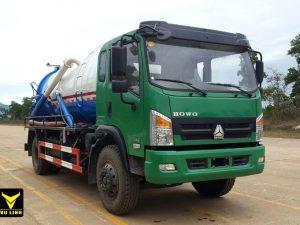 xe hút bùn, hút chất thải 9 khối Howo nhập khẩu