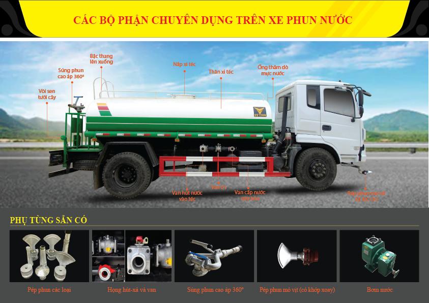 Phụ tùng và thiết bị thay thế của xe phun nước rửa đường tưới cây